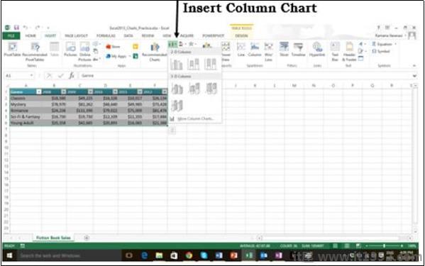 Insert Column Chart
